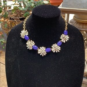 J.Crew Blue rhinestones and crystal necklace.